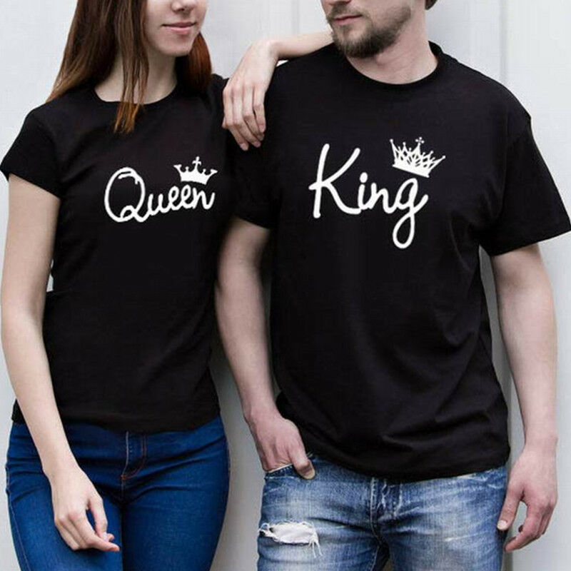 658bc261d8 Details about New Design Couple T-Shirt King And Queen Love Matching Shirts  Summer Tee Tops