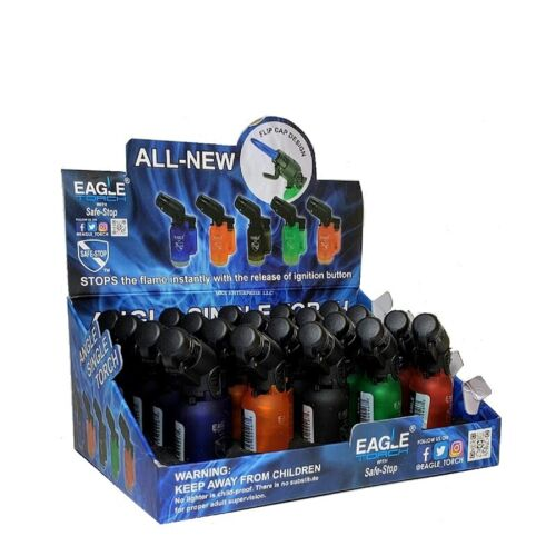 EAGLE TORCH 45 ANGLE SINGLE FLAME TORCH PT116B ASSORTED COLORS PACK OF 20
