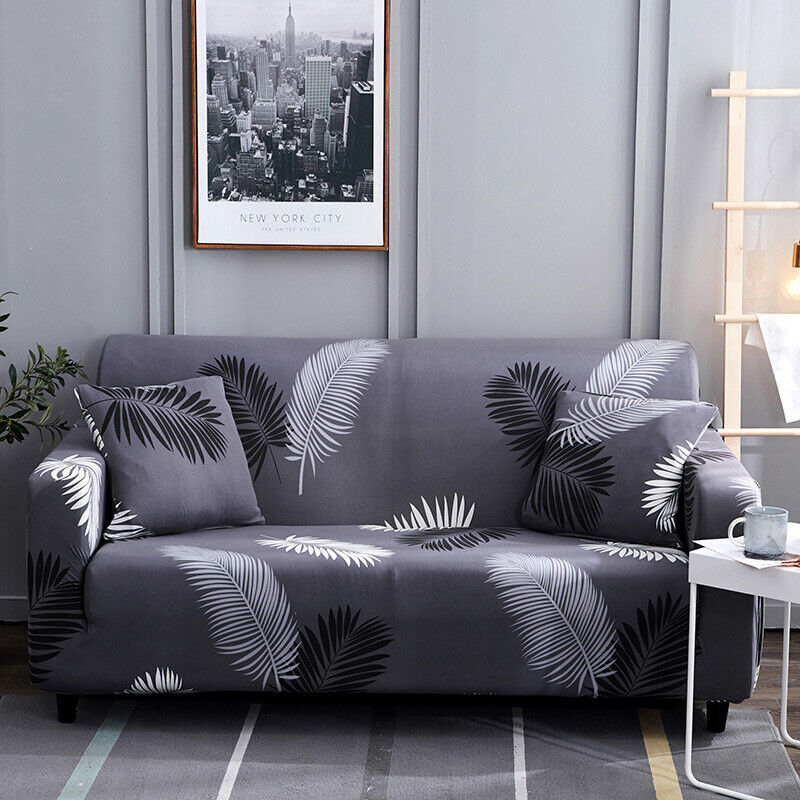 Flower Pattern Cotton Elastic Corner Sofa Towel Couch Cover