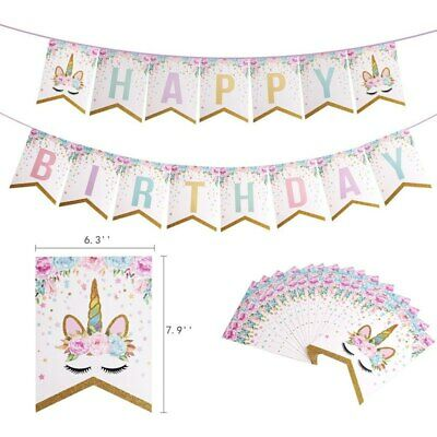 Unicorn Pink Banner Gold Glitter Bunting Garland Flag Happy Birthday 2M ()