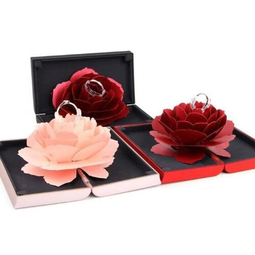 Folding Rotating Rose Ring Box Birthday Valentine S Day Jewelry