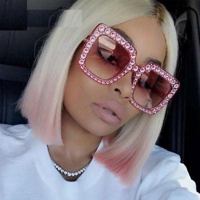 Pink Plastic Sunglasses (NEW Pink OVERSIZE Square Frame Bling Rhinestone Sunglasses Women Fashion Shades )