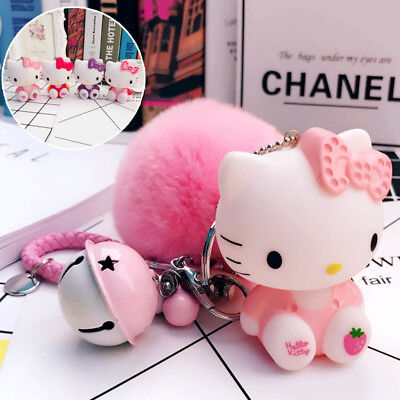 Pink Hello Kitty Keychain Pom Pom Porte Clef Bag Car Key Ring Cartoon Gift