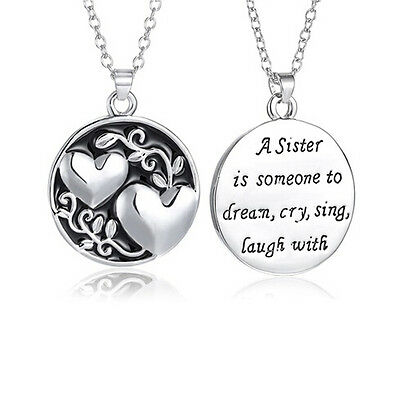Sisters Heart Infinity Sister Best Friends Friend Gift Charm Necklace Set Chain