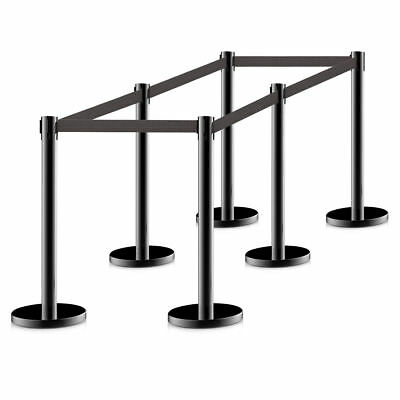 6Pcs Stanchion Posts Queue Pole Retractable Black Belt Crowd Control Barrier