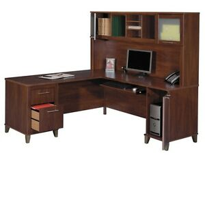 Bush Somerset Collection L-Shaped Desk with Hutch 71""