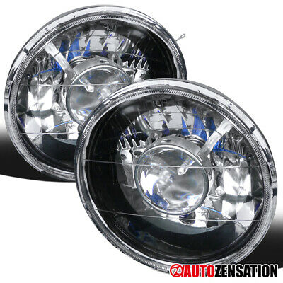 "7"" H6024 Pair Round Black Clear Projector Headlights Lamps+City Lights+H4 Bulbs"