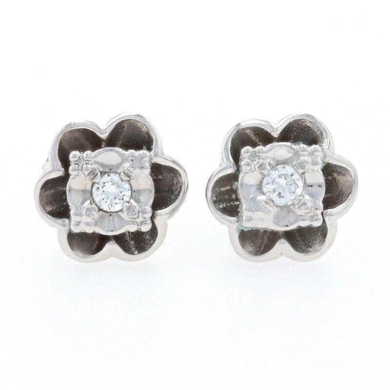 White Gold Diamond Vintage Flower Stud Earrings - 14k Round .10ctw Blossoms