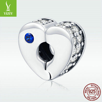 Best Wishes 925 Sterling Silver Heart Charm Clip Clasp Bead For Women