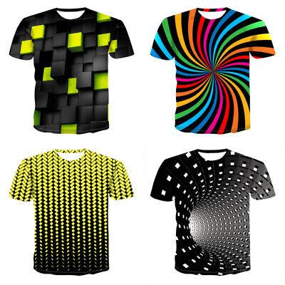 Geometrische Drucken (Herren Kurzarm 3D Druck T-shirts Tops Shirt Bluse Hemd Oberteile Freizeitshirt)