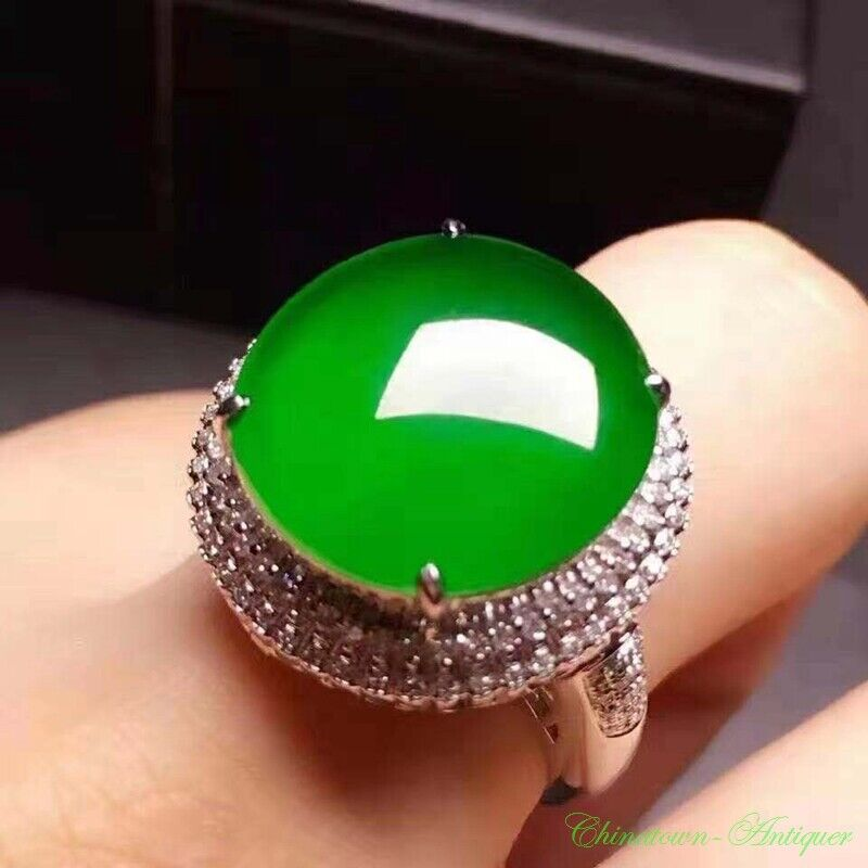Certified Grade A Natural Untreated Ice Yang Green Jadeite Jade Finger Ring#2243