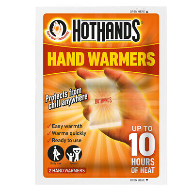 HOTHANDS HAND WARMERS 2PK HEAT HOT PACK PORTABLE POCKET HEATER TRAVEL PAIRS 10HR Pocket Hand Warmers