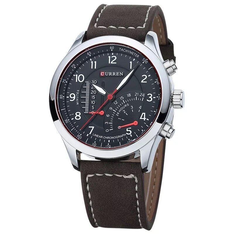 CURREN Sports Mens Quartz Analog Stainless Steel Case Waterproof Wrist Watch