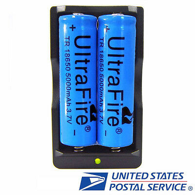 2pcs 18650 3.7v Li-ion Rechargeable Battery 5000mAh Batteries + Smart Charger