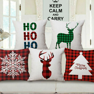 Merry Christmas Xmas Gift Designed Throw Pillow Case Cover Cushion 18 x 18 Inch ()