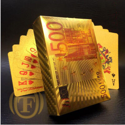 HIGH QUALITY 24K GOLD FOIL PLAYING CARDS NEWEST 500 EURO Bill USA STOCK!