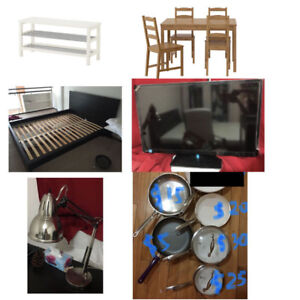 dining table and chairs; king size bed; tv