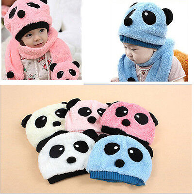 Baby Children bays girls Kids Panda Warm Hats Cap Scarf For Spring Winter Lovely