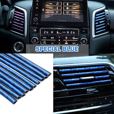 10PCS Car Accessories Blue Air Conditioner Air Vent Outlet Decoration Strips