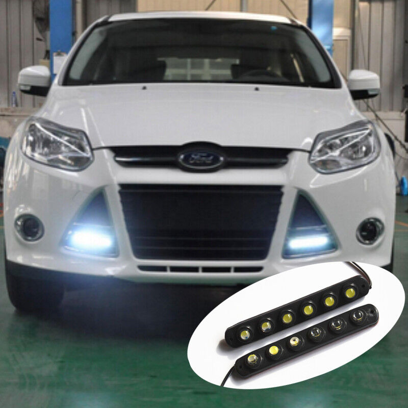 2x Car SUV waterproof 6 Hawkeye LED Daytime Running Light DRL Fog Driving Lamp