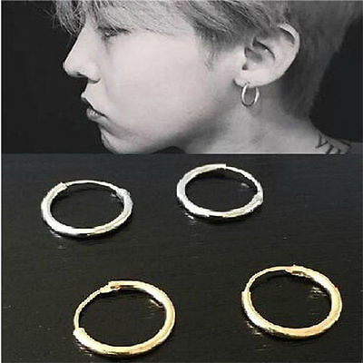 Silver Gold Plated Small Endless Hoop Ear Stud Earrings Round Jewelry 12mm Small Ear Plate