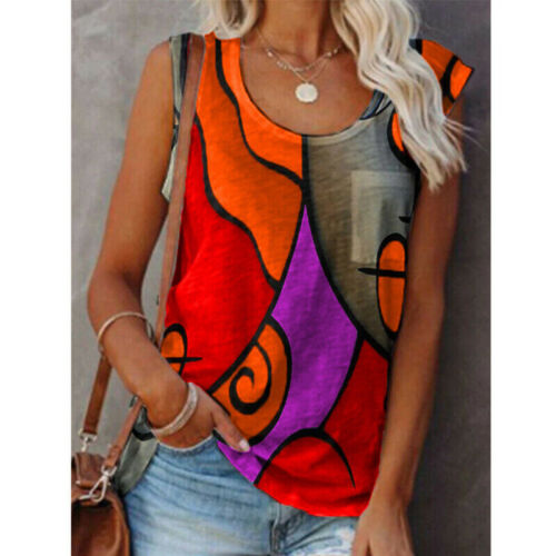 Summer Women Casual Sleeveless Floral Crew Neck T Shirt Loose Blouse Tank Top Clothing, Shoes & Accessories