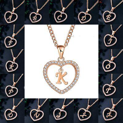 Womens Gold Tone Initial Alphabet Letter A-Z Love Heart Pendant Chain Necklaces
