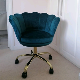 Dark teal gold swivel office desk chair