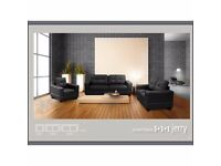 New JERRY Sofa + Corner Sofa Bed 3+2 Black, Brown Fabric Living Room Bedroom