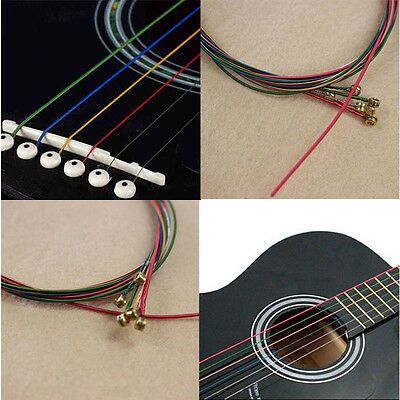 New 1 Set 6 Rainbow Colorful Acoustic Guitar Strings Stainless Steel Alloy