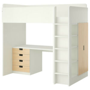 IKEA STUVA Loft Bed with Desk, Drawers, Closet & Shelves