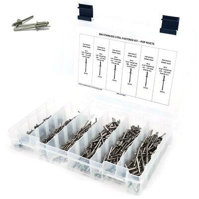 Pop Rivets Assortment Stainless Steel Pop Rivet Kit 4-2 Thru 6-8 301 Pieces