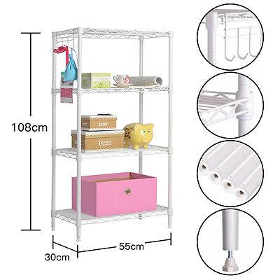 4Tier Wire Shelving Rack Metal Shelf Adjustable Unit Garage Kitchen Storage