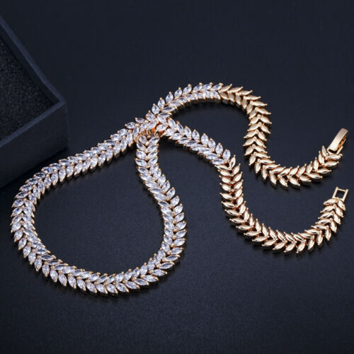 CWWZircons African CZ Stone Gold Wedding Bridal Necklace Earrings Jewelry Sets