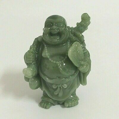 Chinese Feng Shui Laughing Smiling Buddha Statue Sculpture Man-made Green Stone - Laughing Buddha Sculptures