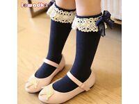 Navy ruffle knee socks x 2 pairs (BRAND NEW)