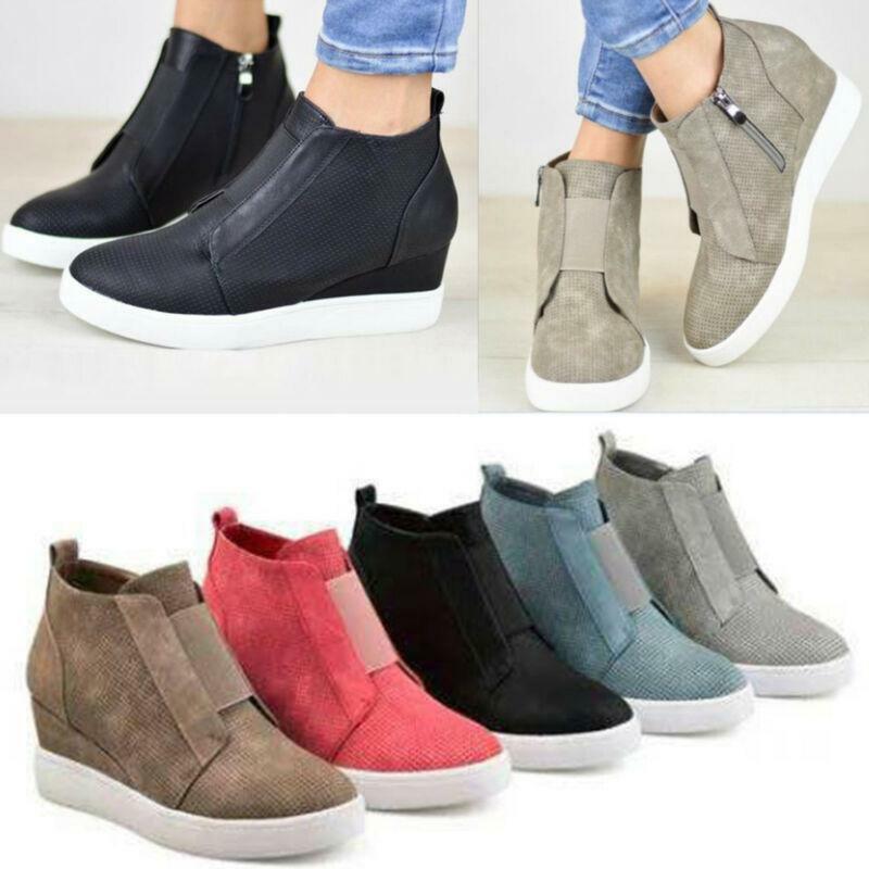 Women Hidden Wedge Mid Heel Ankle Boots Sneakers Trainers Hi