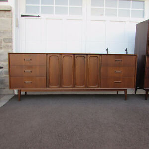 Mobilier set chambre mid-century noyer teck scandinave vintage 1