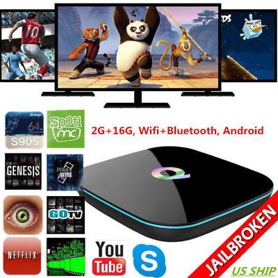 Q-BOX 2G+16G Android Quad Core 4K Smart TV BOX WIFI S905 Media Player Wifi NEW