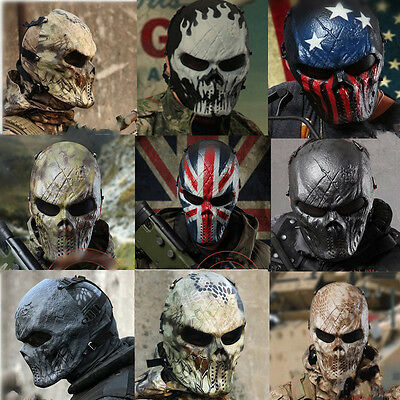 Outdoor Airsoft Paintball Full Face Protection Skull Mask Tactical Gear Military