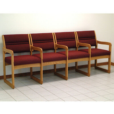 Wooden Mallet Valley Four Seat Chair w/Center Arms-Light Oak- DW1-4LOCB Chair 1 Seat Arm Chair