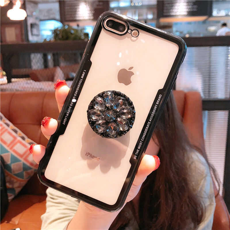 Hot Clear 3D Luxury Diamond Fashion Bracket Case Cover For iPhone 6 7 8 X XS Max