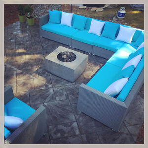 BRAND NEW Outdoor Large SECTIONAL w Table and Club Chair