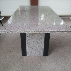 Solid Granite Dining Table - Grey / White / Black Speckled Strathcona County Edmonton Area image 2