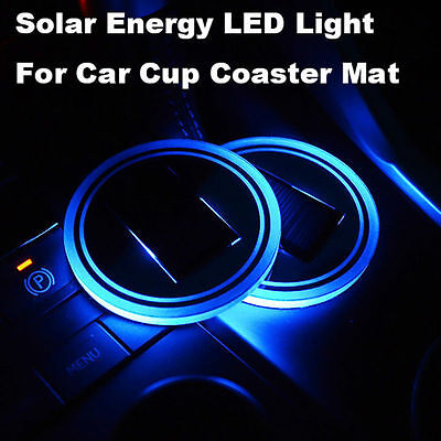 2 Solar Cup Holder Bottom Pad LED Light Cover Trim Atmosphere Lamp For car US
