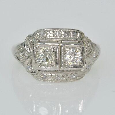 Vintage Antique Platinum Filigree 1/2 Cttw Diamond Two Stone w/ Accents Ring