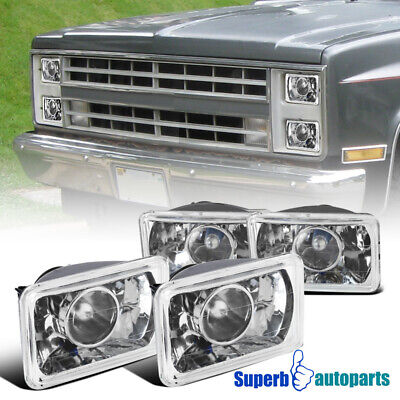 4X6 Square Replacement Front Projector Headlights w/H4 Light Bulbs 4PCs