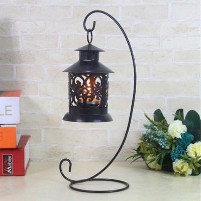 Candle Holder Iron Stand Candlestick Lantern Hanging Rack Bedroom Decor 2 Colors