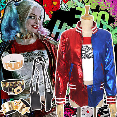 Harley Quinn Outfits (2017 Harley Quinn Suicide Squad Cosplay Halloween Weihnachten Kostüm Outfit Suit)