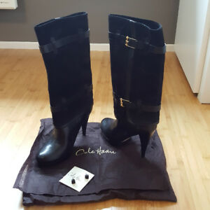 COLE HAAN  High heel, black Suede boots.  Brand new  7.5B